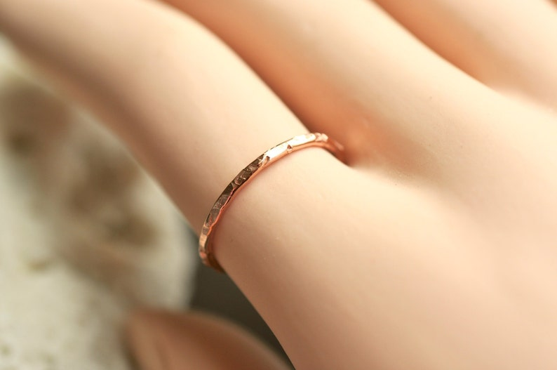 Skinny Ring thin band hammered thin band pick your textures 14k rose filled 14k gold filled