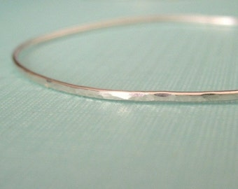 ADD-A-CHARM interchangeable textured delicate skinny bracelet in sterling silver--one plain bangle, no charm