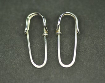 solid 18k gold mini SAFETY PIN earrings (single loops) - tiny safety pins, yellow, white or rose gold everyday hoop earrings