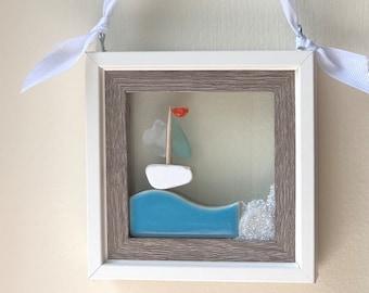 Sea Glass Sailboat Resin Art - Seas The Day