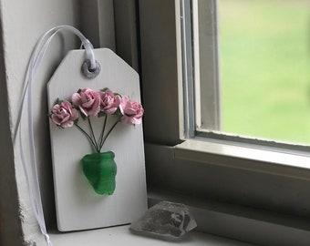 Sea Glass Wood Tag - Indoor Garden Gift Tag - GROW