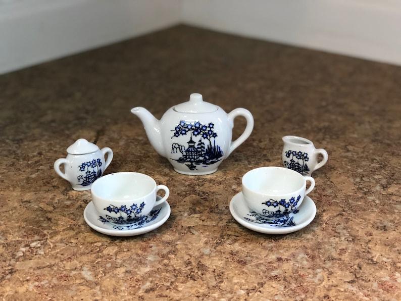 Japan Pagoda Scene Vintage Children/'s Ten Piece Porcelain Tea Set