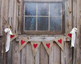 Glittered Hearts Burlap Banner with Ribbon Bows