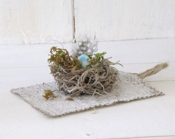 NEST Burlap Tag Set of FOUR....Baby Shower
