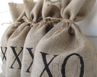 XO set of four Burlap Gift Bag Set WEDDING Favor Bags