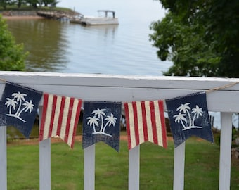 Beach Patriotic Burlap Banner, 4th of July, Indepenence Day, Memorial Day, Labor Day, U.S. Flag, Presidents Day, Nautical