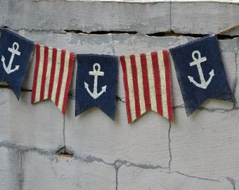 Anchor Patriotic Burlap Banner, 4th of July, Indepenence Day, Memorial Day, Labor Day, U.S. Flag, Presidents Day, Nautical
