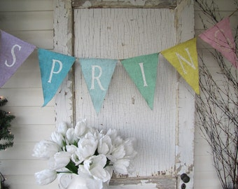 SPRING Glittered Burlap banner Bunting Pennant....LARGE