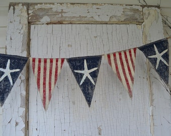 Size MED. Starfish Olde American Flag, Patriotic, July 4th, Old Glory, USA, Painted Burlap Banner, Flag, Bunting, Pennant