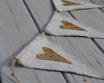 Tarnished Gold Hearts or Stars Painted Burlap Wedding Banner