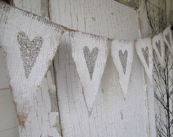 Tarnished Silver Hearts Valentines Day Burlap Banner