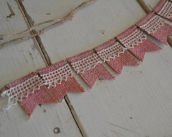 Tiny Pink and Vintage Lace Burlap Banner