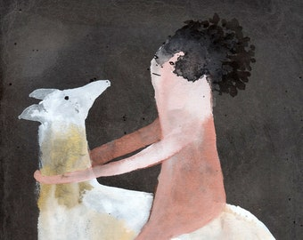 Deer Rider / watercolour gouache original