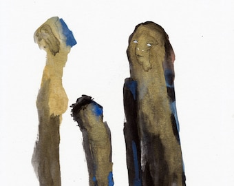 Tall Family Original / gouache painting