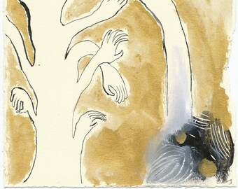 SALE Tree of Hands / Original Illustration by Emma Kidd / metallic shining