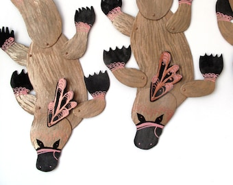 SALE Platypus Pink Detail Articulated Decoration  / Hinged Beasts Series