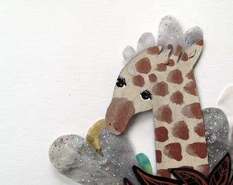SALE Sea Giraffe Hand Painted  / Hinged Beasts Series