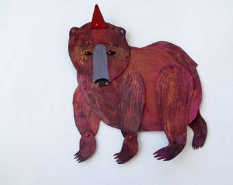 Pointed Hat Magenta Bear articulated hand painted creature