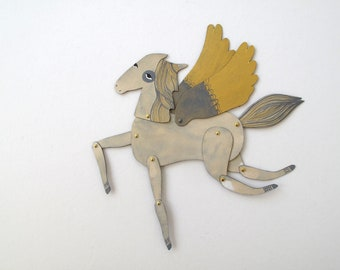 Ginger / Winged Grey and Gold Horse Articulated Decoration  / Updated V2