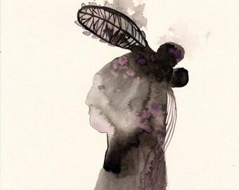 Portrait / watercolour gouache original