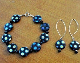 Round Acrylic Bracelet and Matching Earrings