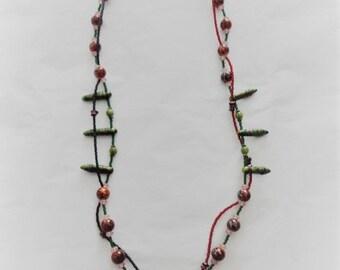 Jasper Gemstone and Glass Necklace