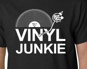 3443067e Vinyl Junkie t-shirt - Music LP Records DJ Turntable Crate Diggers