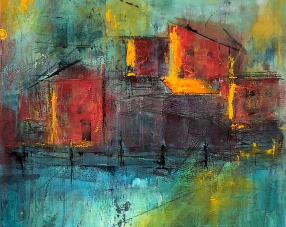 Painting Acrylic Mixed Media Original Modern Contemporary Art on Canvas Paper for Decoration, Portside Evening