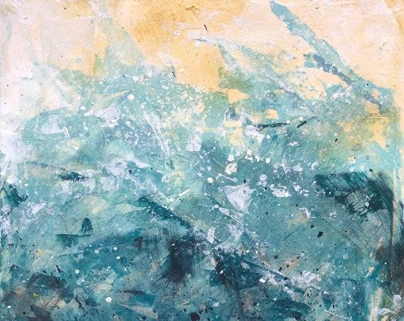 Painting Original Abstract Modern Contemporary Art Small Decoration, Cornish Waves
