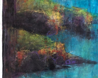 Painting Original Acrylic Mixed Media Abstrait Contemporary Art, From Above