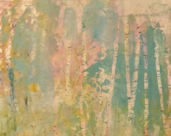 Painting Original Abstract Modern Contemporary Art Small Decoration, Spring Birches