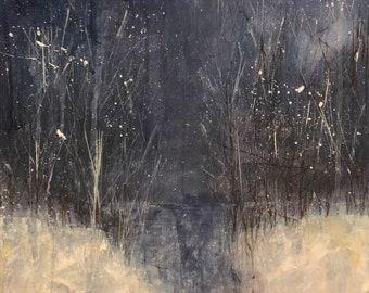 Painting Original Abstract Modern Contemporary Art Small Decoration, Midnight Skating