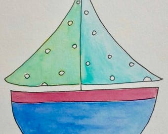 STUDIO CLEARANCE - Cute Boat Children's Watercolour