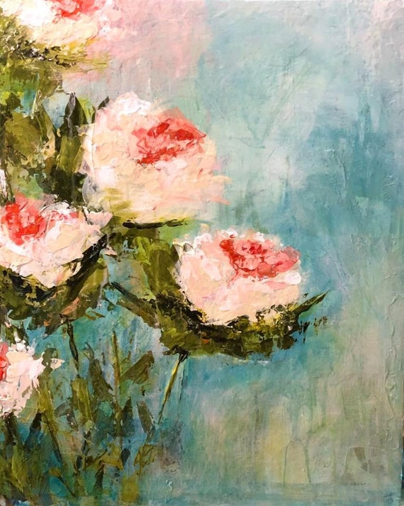 Painting Original Acrylic Abstract Modern Contemporary Art, Peonies in Pink