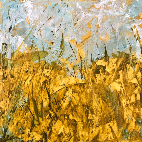Painting Acrylic Original Contemporary Art, Cornish Meadow