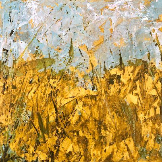 Painting Acrylic Original Contemporary Art, Cornish Meadow