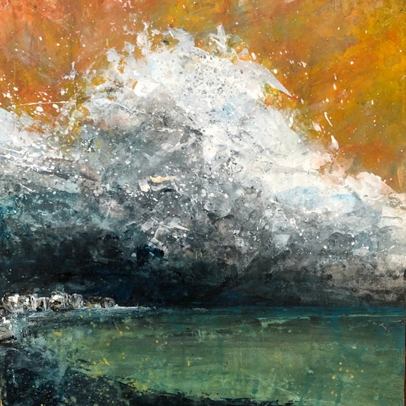 Painting Original Abstract Modern Contemporary Art for Decoration, Storm Clouds