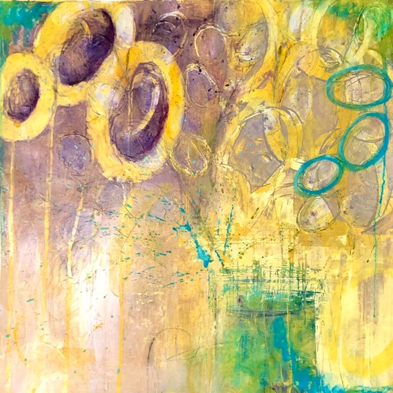 Painting Original Abstract Contemporary Modern Art for Decoration, The 60s Rang with her Bouquet