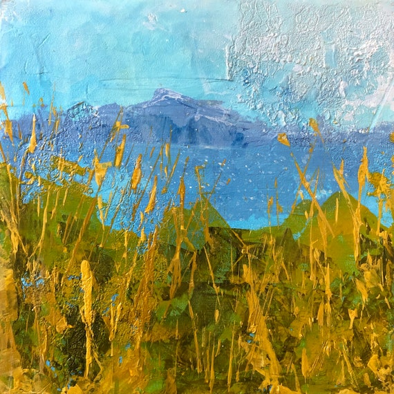 Painting Original Acrylic Modern Abstract Contemporary Art, View over the Lake