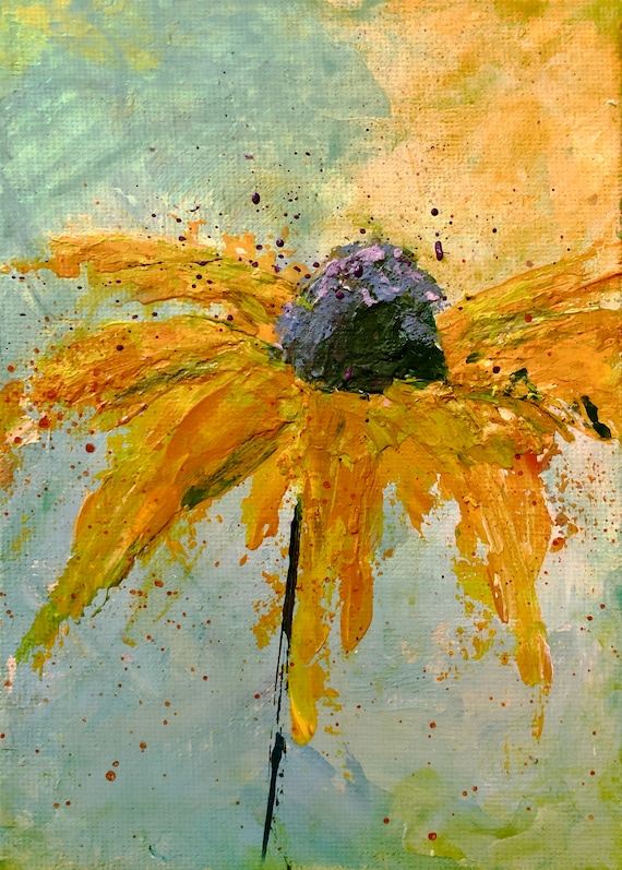 Painting Small Original Mixed Media Acrylic Modern Contemporary Art on canvas board for decoration, Echinacea