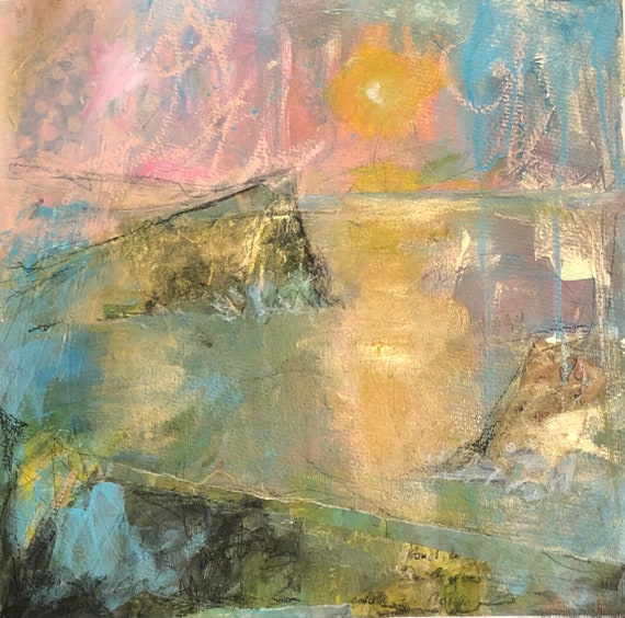Painting Original Artwork Modern Abstract Contemporary Art for Decoration, Beneath These Still Waters