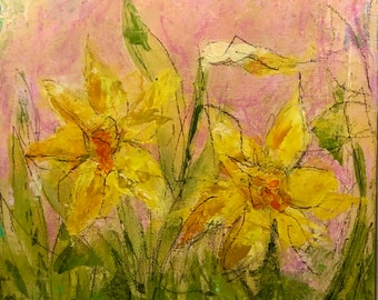 Painting Original Abstract Modern Contemporary Art Small Decoration, First Flowers of Spring