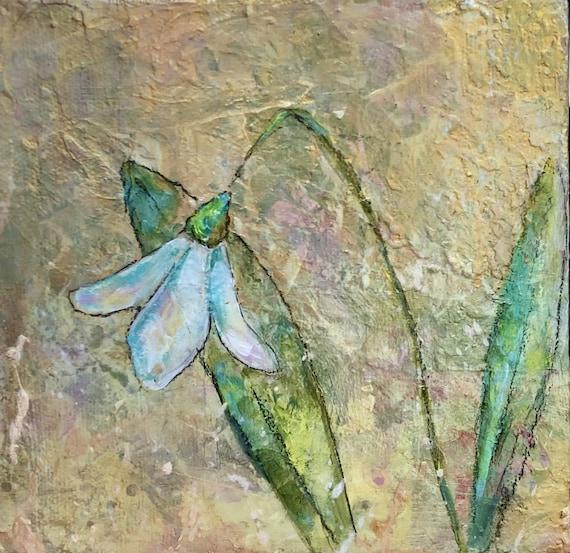 Painting Small Original Acrylic Contemporary Modern Art, Snowdrop