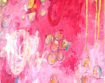 Painting Original Abstract Contemporary Modern Art for Decoration, The Delight of Lunaria