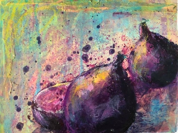 Painting Original Abstract Mixed Media Contemporary Art, Les Figues 2