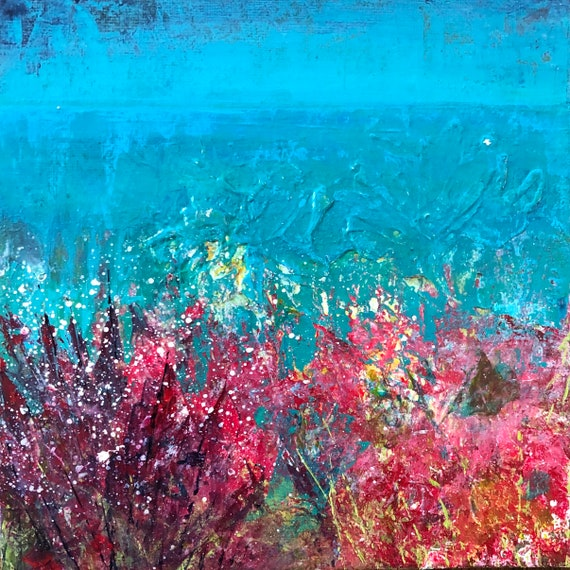 Painting Original Acrylic Contemporary Abstract, Cornish Flora