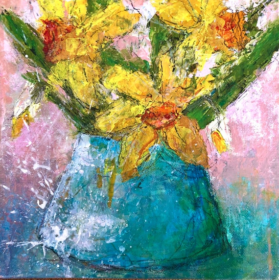 Painting Original Abstract Modern Contemporary Art Small Decoration, Daffodils in a Jug