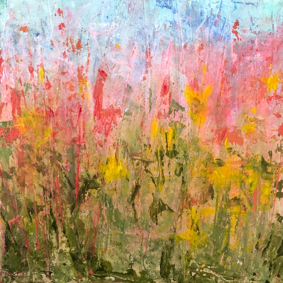Painting Original Modern Abstract Contemporary Art Small Decoration, Autumn Flowers