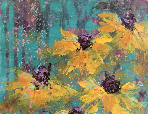 Painting Mixed Media Acrylic Original on Paper Canvas for Decoration, Echinacea 2