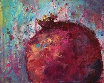 Painting Abstract Mixed Media Contemporary Artwork Original, La Grenade